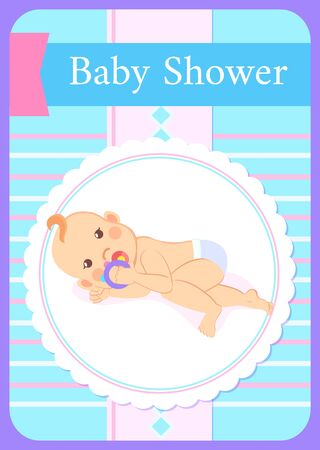 Baby shower greeting card, kid lying on back and playing with rattle. Vector newborn toddler, milestones from 1 to 6 month cartoon boy or girl in frame