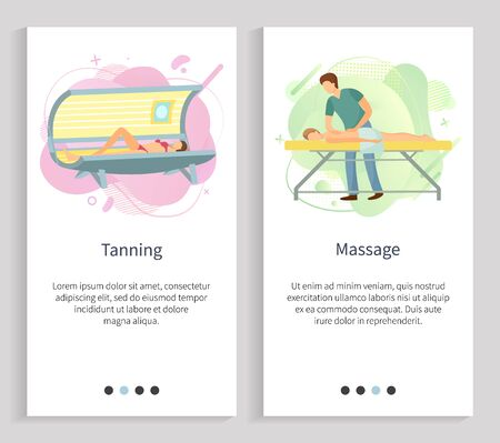 Massage vector, tanning in spa salon, woman in sunroom gaining hues of skin, masseur with client male massaging back of person on procedure. Website or slider app, landing page flat style