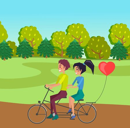 Happy young in love girl and guy riding on double bike on the road at forest background. Romantic ride in the wood at summer. Heart shaped ball tied to a bicycle. Cute cartoon vector characters Vektorgrafik