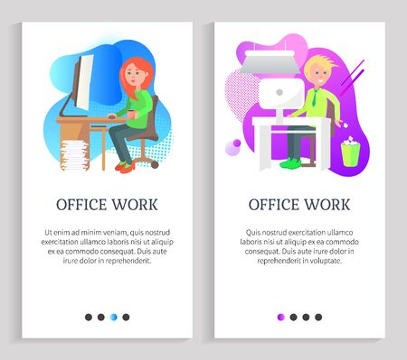Woman working with computer, man sitting at desktop, throwing garbage in urn, worker character using pc, employee in office, job occupation vector. Website or slider app, landing page flat style