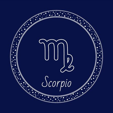 Scorpio zodiac sign isolated icon. Symbol of Eagle, Phoenix and Scorpius. Astrological sign used for horoscopes. Circle with abstract shape letter and calligraphic inscription vector in flat