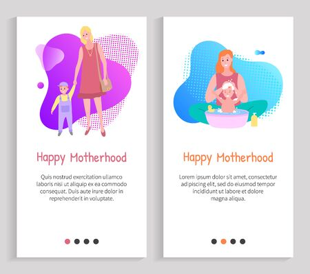 Mother caring, family leisure, parent bathing baby, mom holding kid, portrait view of mother and child, washing and walking, maternity vector. Website or slider app, landing page flat style