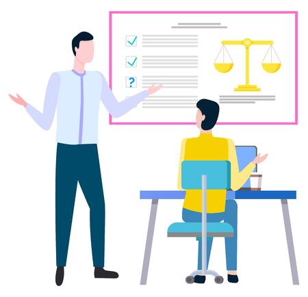 Business and legislation, legal advice service vector. Businessman and judicial person, laptop and infographic with check marks and scales, consulting Иллюстрация