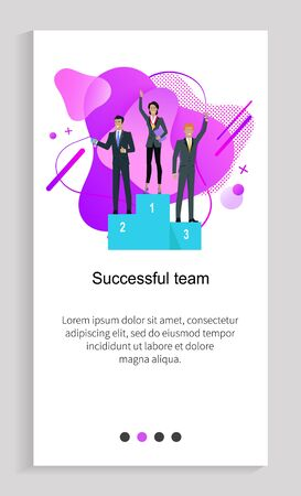Successful team colleagues cooperation, workers win, leadership of people, slide decorated by liquid shape, company leadership, web work vector. Website or app slider template, landing page flat style