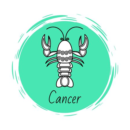Cancer sign of horoscope with sketch depiction of lobster or crab. Astrological symbol in circle. June and july ruling months of sign. Decorative design of zodiacal element. Vector in flat style