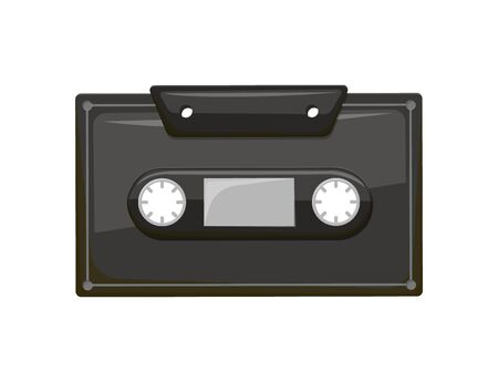 Compact audio cassette analog magnetic tape recording format for audio recording and playback. Retro musicassette isolated icon, recorded object with music Illustration