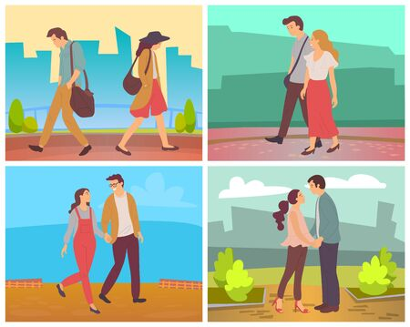 Dating man and woman vector, people walking in city park. Cityscape with skyscrapers and nature bushes. Strolling boyfriend and girlfriends wife and husband illustration in flat style design for web