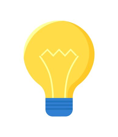 Lamp bulb isolated on white. Electric lightbulb vector icon. Fluorescent energy saving object, symbol of new idea, lighting equipment in yellow and blue Standard-Bild - 147250902