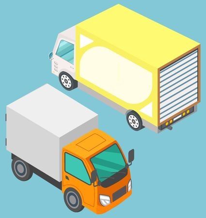 Colorful lorry trucks on blue background. Motor vehicles for freight. Big automobile for fast transportation goods. Logistics delivery vector illustration