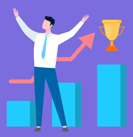 Businessman going to get best trophy, man standing and rising hands to top over graphs and charts, cartoon person, buys and sales. Person and golden award Vecteurs
