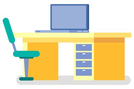 Clinic workplace with desktop and computer equipment, element of CT or MRI. Diagnostic research, nobody place in hospital or laboratory, technician vector