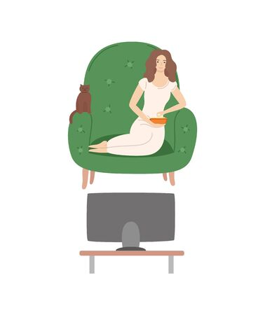 Woman on weekends vector, relaxation at home, lady with cat sitting in armchair eating food from bowl, comfortable furniture at home of female isolated
