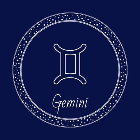Gemini astrology zodiac sign isolated on blue in circle with stars. Vector illustration of constellation of Gemini, sun transits this sign between about May 21 and June 21. Twins symbol outline icon