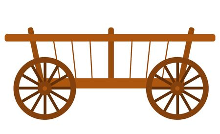 Farm cart, empty wooden trolley, countryside equipment. Transportation products, basket or container with wheels, element of harvest festival vector