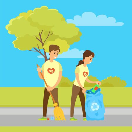 Volunteers collecting garbage and sweeping street. Vector people social workers in volunteering organization, taking care about environment in city park