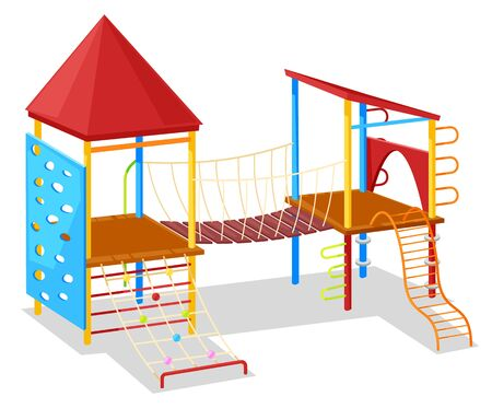 School yard, playground object, slide and rope, climb wooden equipment. Young active, game palace with roof, metal hill, children symbol, joy vector Иллюстрация