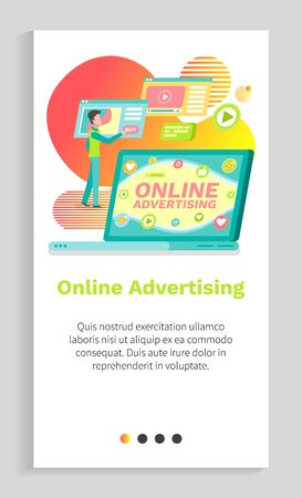 Online advertising, man using device opening laptop screen of social network, round icons like, play and message, internet communication vector. Website or app slider template, landing page flat style