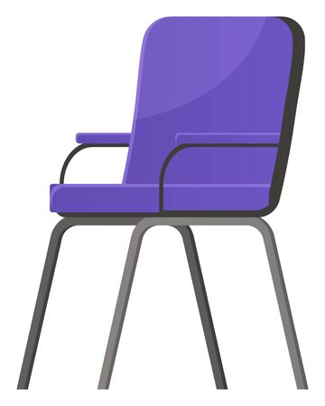 Piece of furniture for home and office. Chair with metal frame, legs and soft back, seat and armrest. Object for room furnishing isolated on white background. Vector illustration of armchair in flat