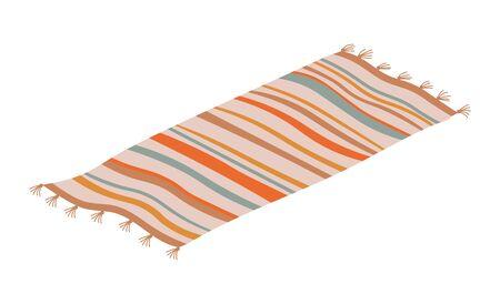 Striped rug floor covering isolated on white. Vector retro mat, carpet thick woven material, interior design element flat design illustration Illustration