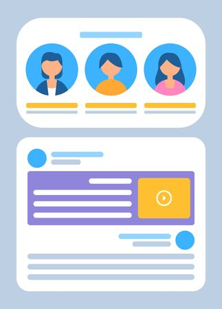 Profiles of users vector, man and woman using services flat style. Business activities, icons and avatars of female and male with information below