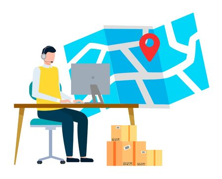 Person work at postal office. Man sitting by table and working on computer. Carton boxes for shipment to location on map. Worldwide transportation and delivery parcels, vector illustration in flat