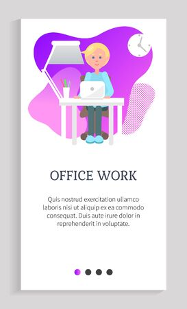 Office work vector, man with assignments to complete, computer programmer by workplace, interior of working space of programmer, application. Website slider app template, landing page flat style