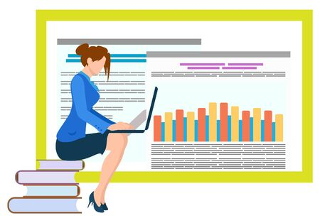 Lady with laptop working on new project analysis vector, flat style character sitting on books publications. Female worker with info and data on board. Business education