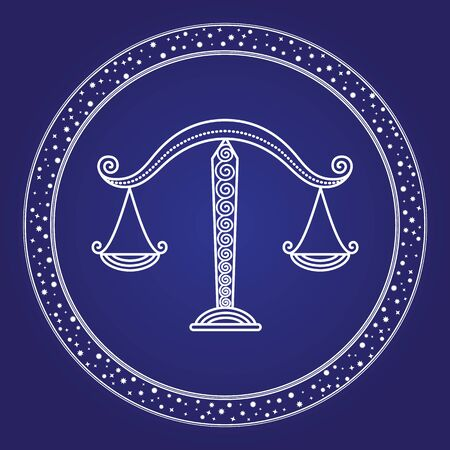 Horoscope birthday month Libra zodiac symbol in starry circle isolated on blue. Card white outline of zodiacal mythology sign in round shape. Astronomy science with constellation emblem vector