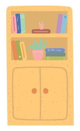 Bookshelf object, classroom element, knowledge symbol. Books and plant in pot on shelf, wooden furniture with literature, back to school, textbook vector