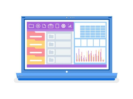 Graphics and folders, laptop with open website vector. Charts and schemes, business software and data, computer and working tools, isolated object