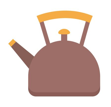 Kettle used for boiling water in it. Utensil for kitchen, vessel with liquid inside. Teapot with lid, spout and handle. Brown teakettle isolated on white background. Vector illustration of cookware