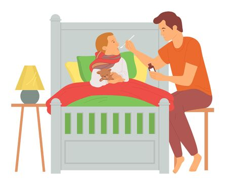 Father giving medical syrup to son, child lying with scarf holding toy, ill kid in bed, dad caring of little boy, people in bedroom, parenthood vector Vector Illustration