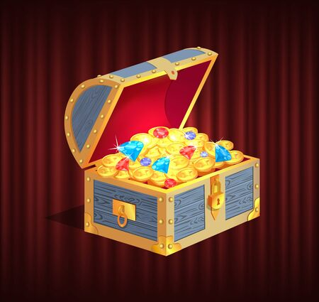 Open dower chest with diamonds, gold and silver coins. 3d view of box with lock and precious sign, brilliant and money in container, loot object vector