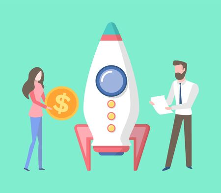 Business workers with money vector, financial assets and rocket with ready to be launched isolated people wearing formal clothes, man and woman flat style