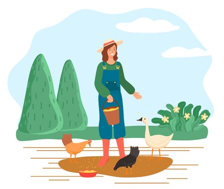 Woman feeding chickens and goose on farm, female character giving food to domestic animals. Rural area, countryside with nature. Person wearing wide hat growing poultry, vector in flat style