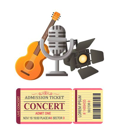 Acoustic guitar musical instrument and mike vector, ticket for concert and light for scene, piece of paper for entrance and microphone prize award