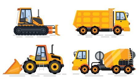 Construction equipment vector, isolated machinery transport for work. Bulldozer and tractor, cement mixer and excavator, building working process 일러스트