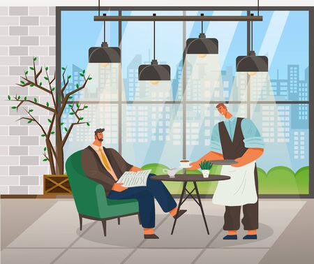 Waiter giving order to businessman reading newspaper in cafe. Male character waiting for coffee or tea. Interior of coffeehouse located in business center. Luxurious interior of restaurant vector