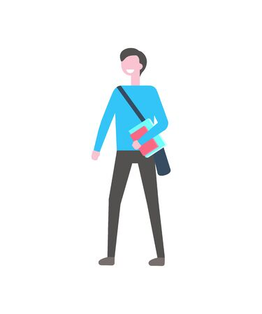 Student man with textbook and bag over shoulder vector isolated cartoon character. Smiling college or campus boy in blue jacket and black trousers, campus pupil Illustration