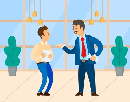 Angry boss shouting at manager. Chief executive dissatisfied with employee. Irritated employer yelling at office worker, business argument vector