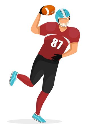 Young guy playing in american football. Player of team running. Guy dressed in red uniform and helmet. Sportsman isolated alone on white background. Vector illustration of active game in flat style