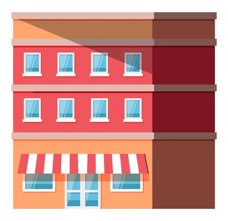 Store or shop, city street building, multi-storey construction vector. Town or city house, striped tent and glass door, urban architecture, facade