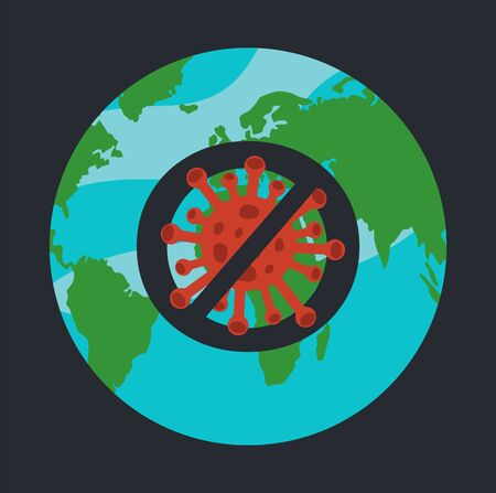 Concept of stop spreading virus in the world, stay at home. Crossed out sign with dangerous coronavirus at earth background. Protesting against respiratory virus. Vector banner in cartoon style
