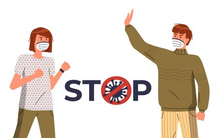 Young man and woman wearing respiratory medical masks against world epidemy. Stop and fight spreading dangerous virus. Crossed out sign with virus pathogen in text. Cartoon characters at white background