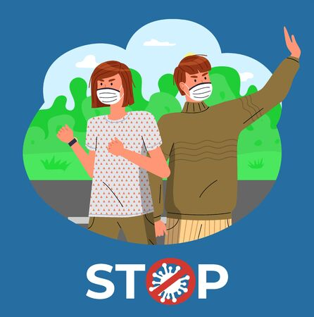 Girl and guy in face medical masks at background of green park. Blue banner with stop crossed out sign. People ask to stay at home to prevent of spreading virus. Respiratory disease, world pandemic
