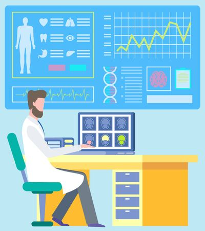 Doctor sitting on workplace and researching diagnostic report patient, ct scan. Monitor with cardiogram and organs icon, laboratory occupation, mri vector