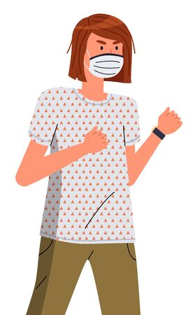 Isolated portrait of young woman wearing face medical mask ready to fight with spreading virus at white background. Viral pandemic, stop spreading viral infection. Cartoon character in vector style Ilustração