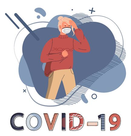 Young blonde woman wearing face medical mask protesting against spreading covid-19. Blue abstract vector elements at the background. Stop world epidemy concept. Cartoon character in flat style
