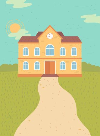 Educational institution vector, school building exterior, facade of public college. Construction with clock on top. Sunny day yard with grass lawn and path. Back to school concept. Flat cartoon