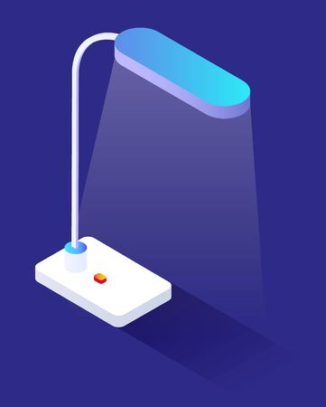 Table lamp isolated on blue background. Plastic flexible stem and light bulb that produces lighting from electricity. Object needed to read or write when it dark. Vector illustration, isometric style Banque d'images - 147725847